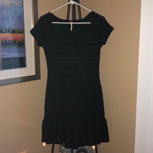 Free People Black Lace Short Sleeve Dress